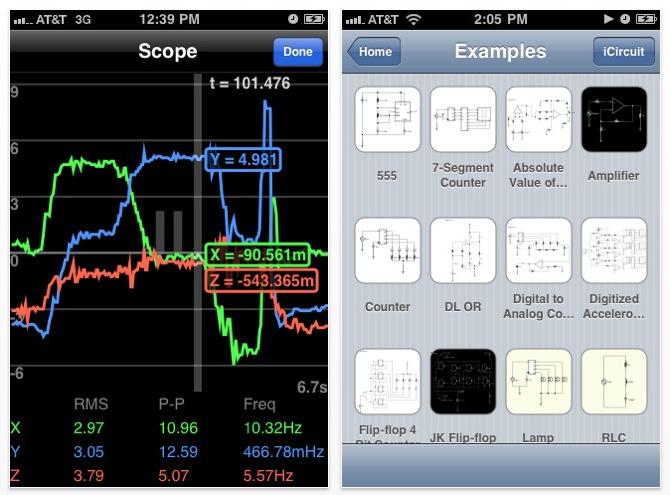 Simulateur de circuits électriques pour iPhone