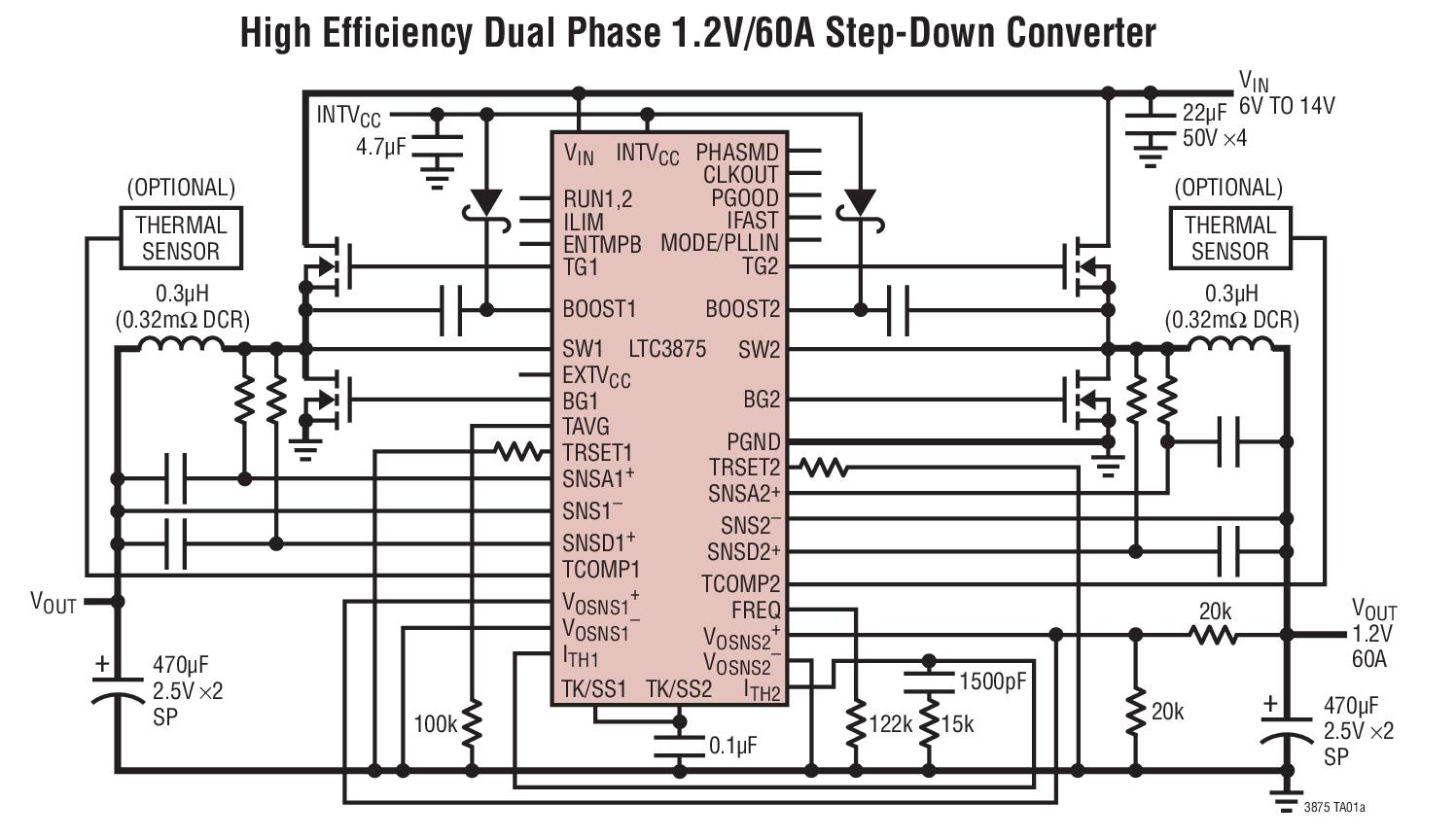 Nouveau contrôleur synchrone bi-phase à faible DCR