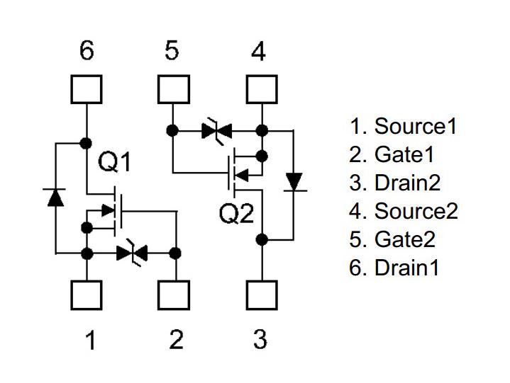 Double MOSFET canal-N à faible résistance