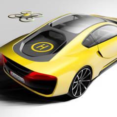 Une voiture sans conducteur avec drone en option