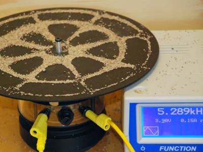 Photo Pieter Kuiper : Round Chladni plate with 3 circular and 4 linear nodes; the iron disc is resonating at 5.289 kHz.